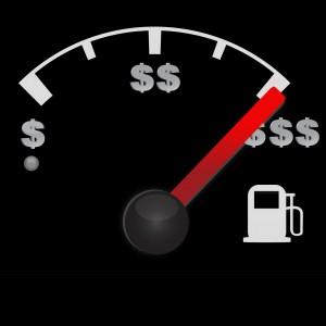 Gas gauge of a car with dollar symbols
